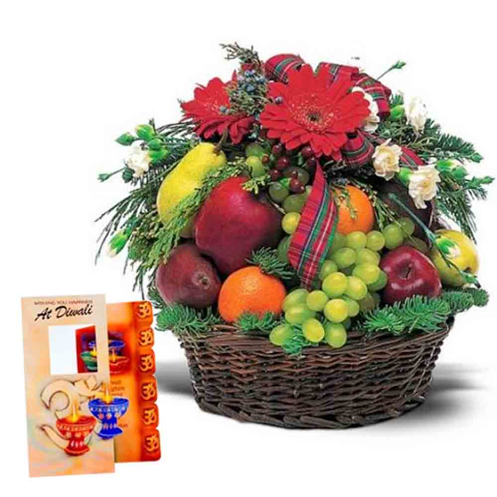 Diwali Greeting with Fresh Fruits and Flowers