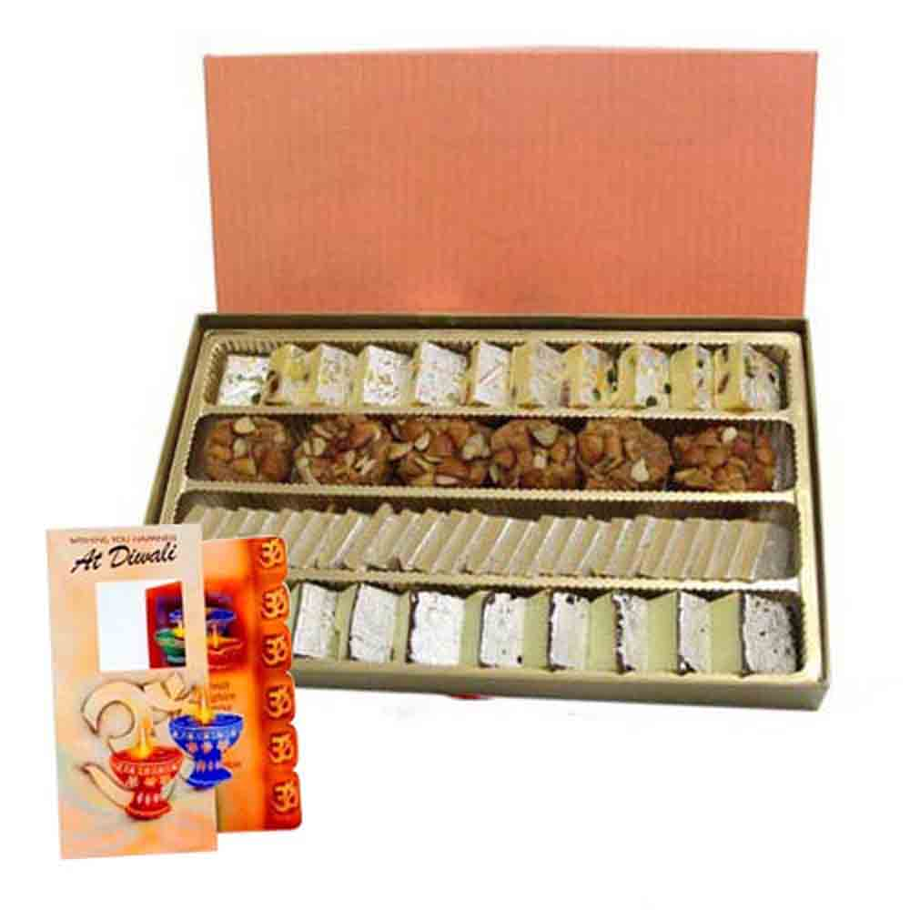 Mix Sweets Box and Diwali Card Combo