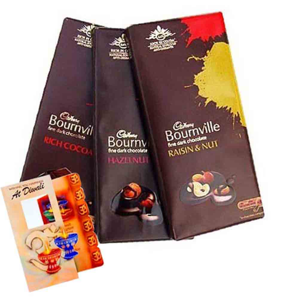 Dry Fruits-Cadbury Bournville chocolate with Diwali Card