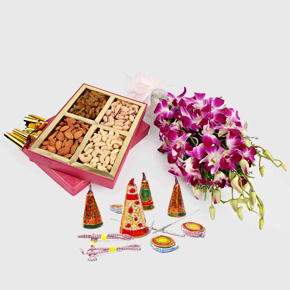 Orchids with Crackers and Dryfruits Diwali Combo
