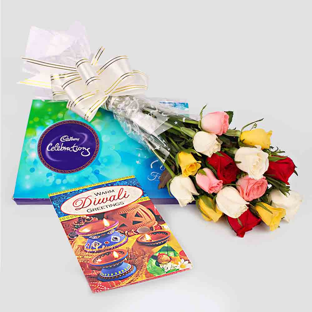Diwali Special Roses bunch with Diwali Card with Cadbury Celebration Chocolates