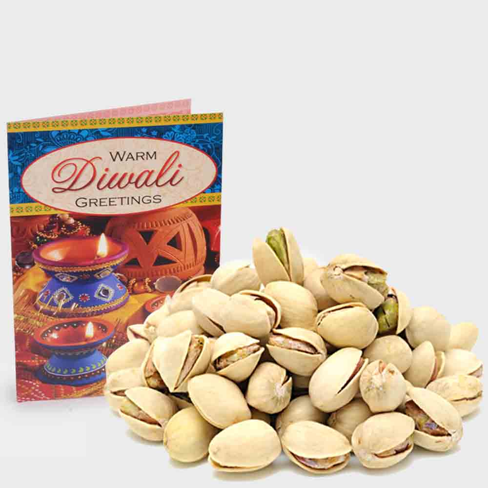 Pack of Pista with Diwali Card