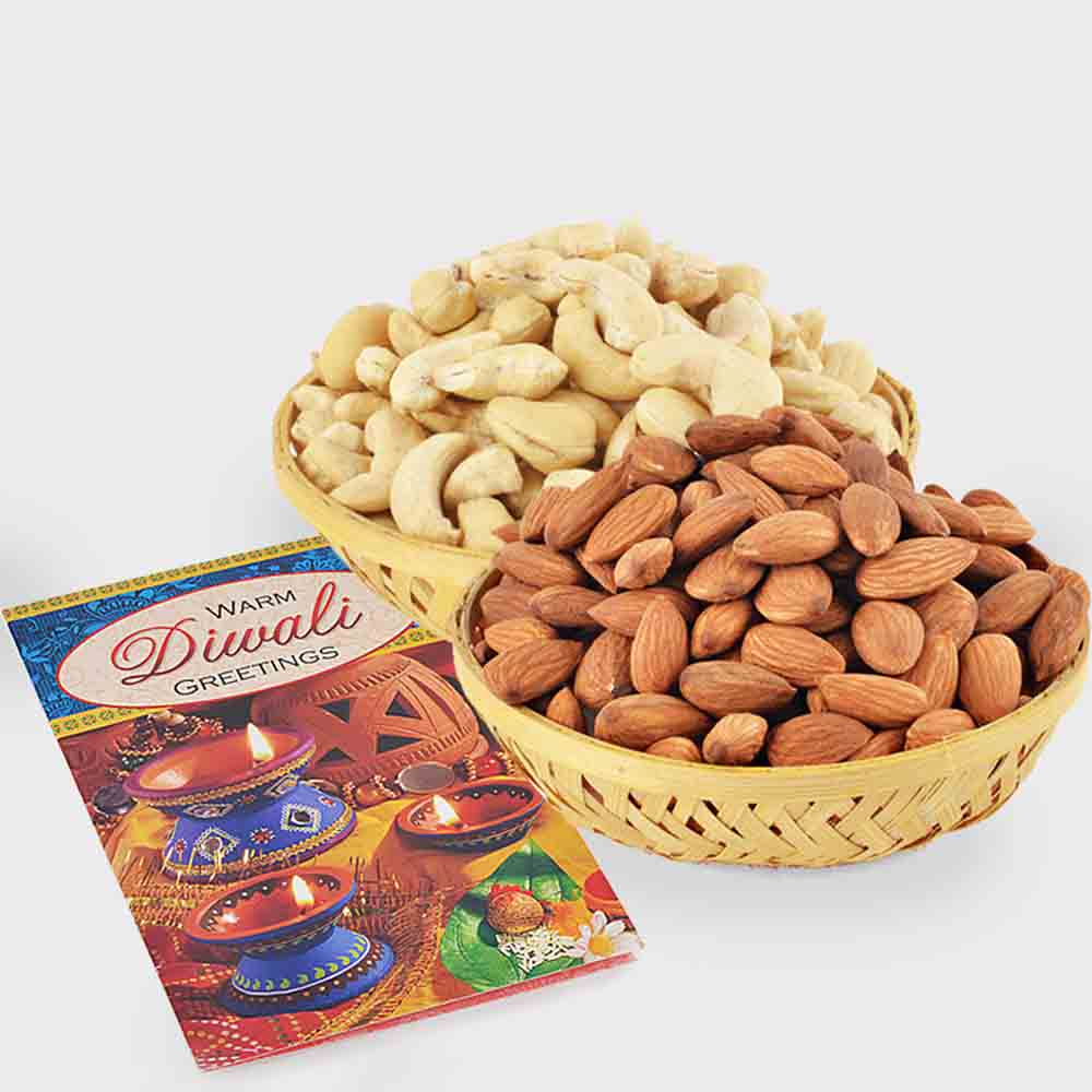 Basket of Cashew Nut and Basket of Almond Nut and Diwali Card