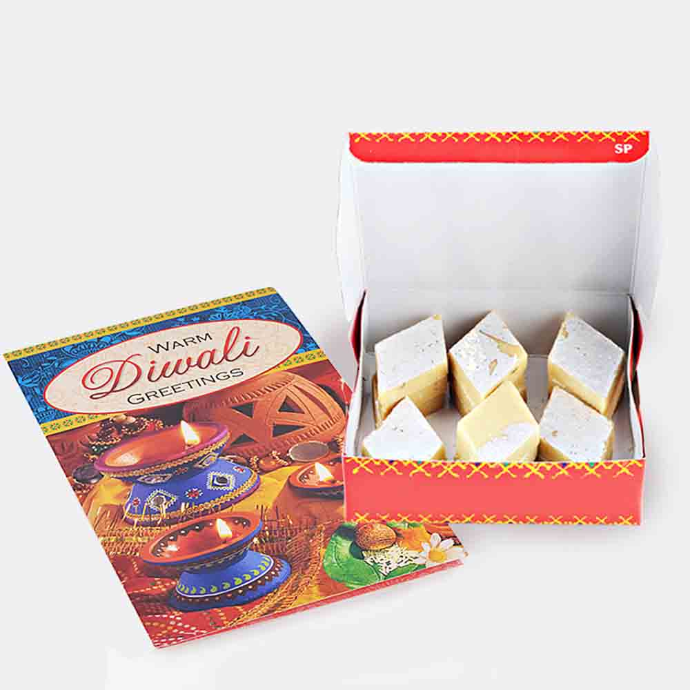 Kaju Katli Sweet with Diwali Card