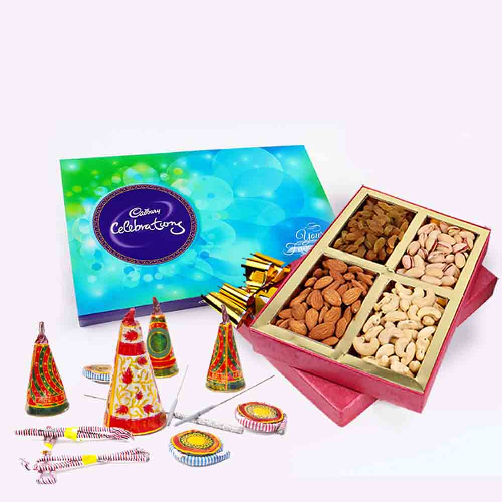 Assorted Dryfruits and Cadbury Celebration Chocolate Pack and Diwali Fire Cracker