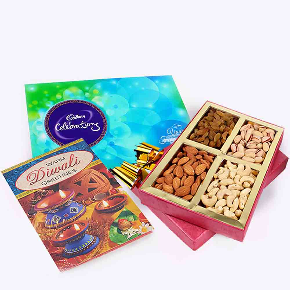 Assorted Dryfruits and Cadbury Celebration Chocolate Pack and Diwali Card