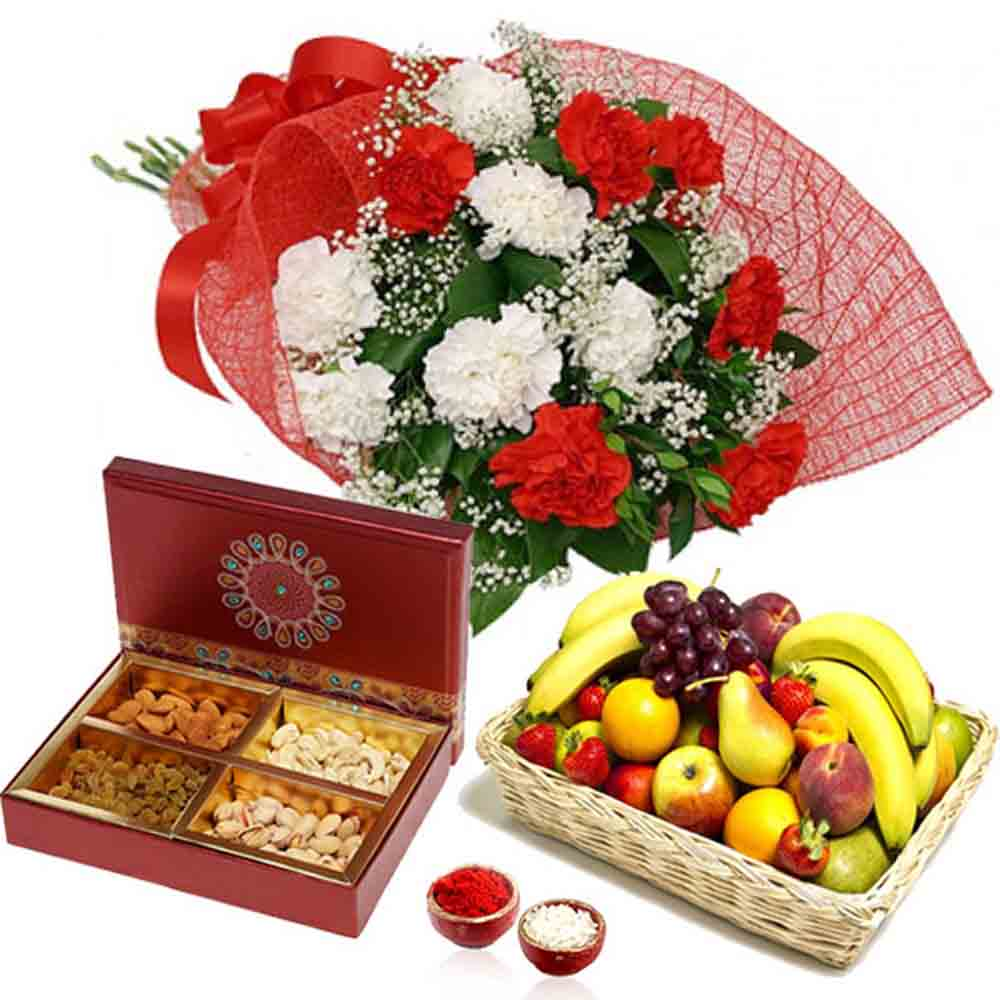 Carnation Bouquet with Manifold Fruits and Dry Fruits for Bhai Dooj