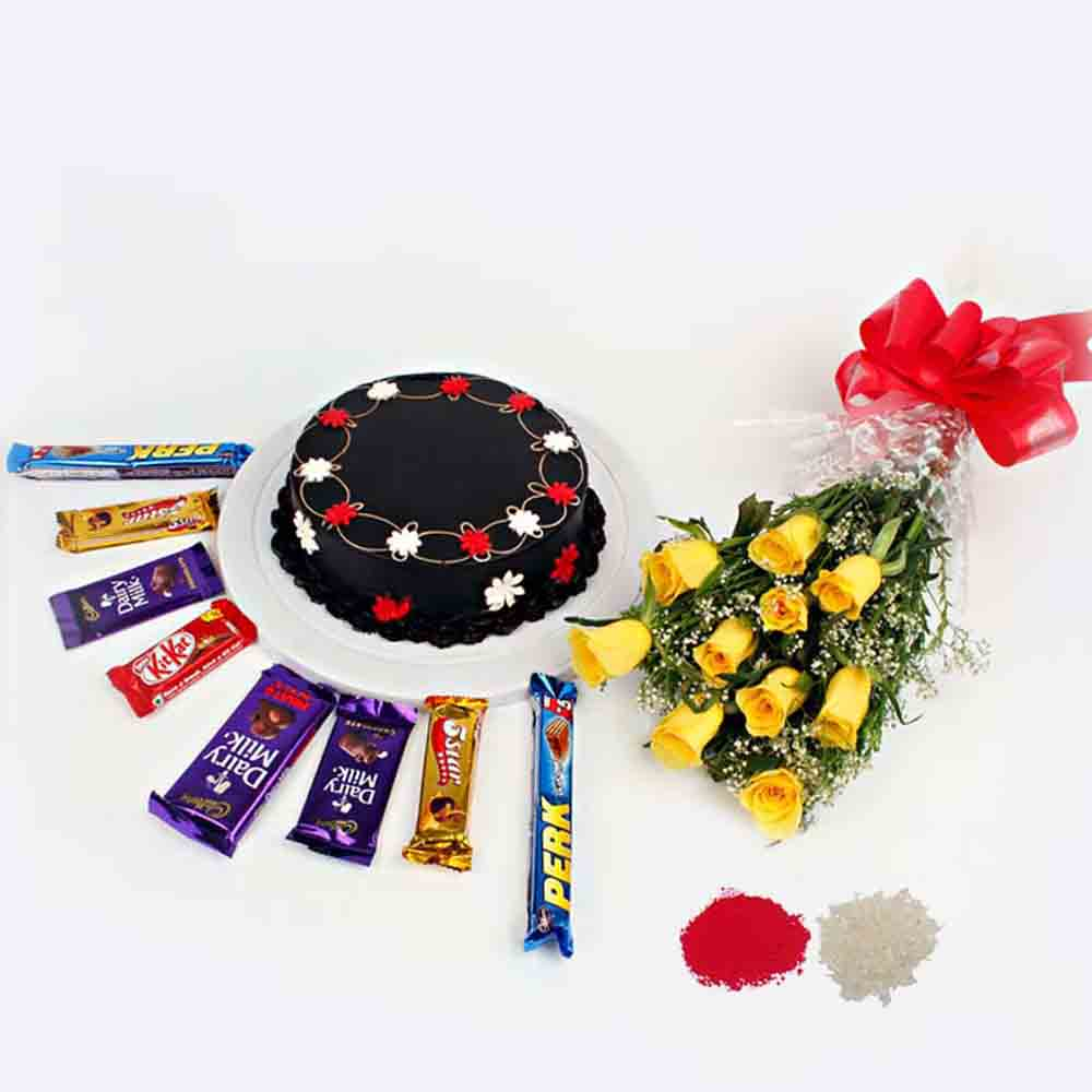 Bhaidooj Hamper of Yellow Roses with Chocolate Cake and Assorted Indian Chocolates