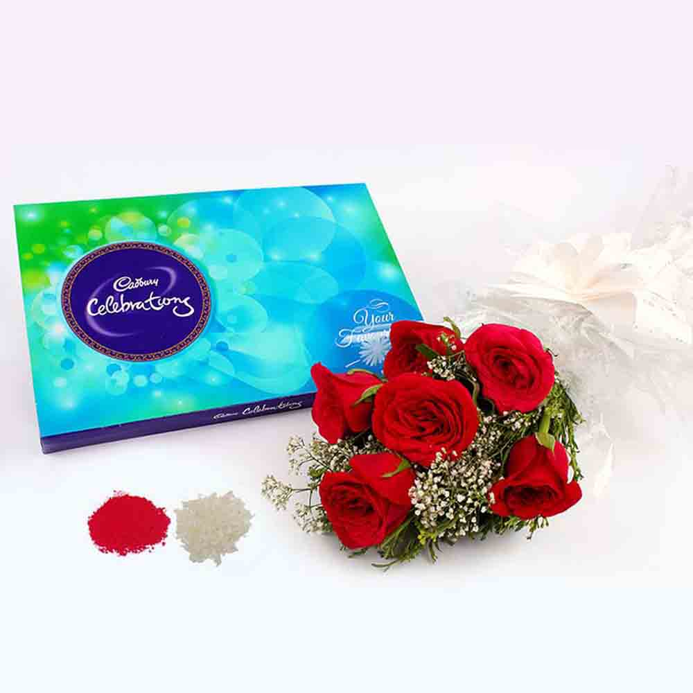 6 Red Roses Bouquet with Cadbury Celebration Chocolate Pack for Bhaidooj