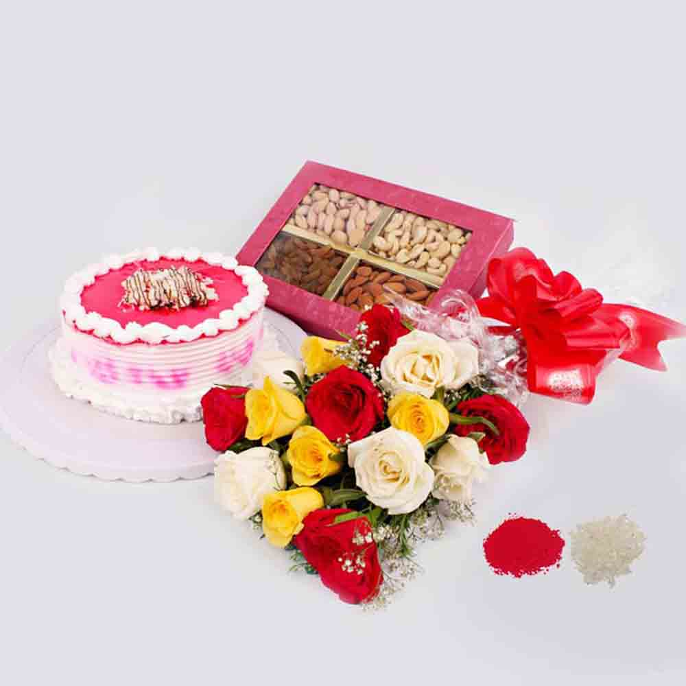 Trio Roses Bouquet with Eggless Strawberry Cake and Dry Fruit For Bhai