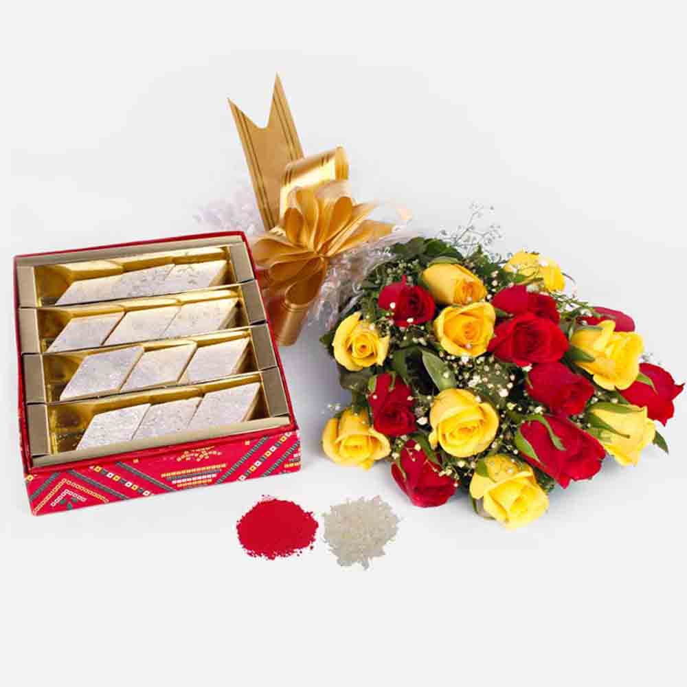 Red and Yellow Roses Bouquet with Kaju Katli Sweets For Bhaiya