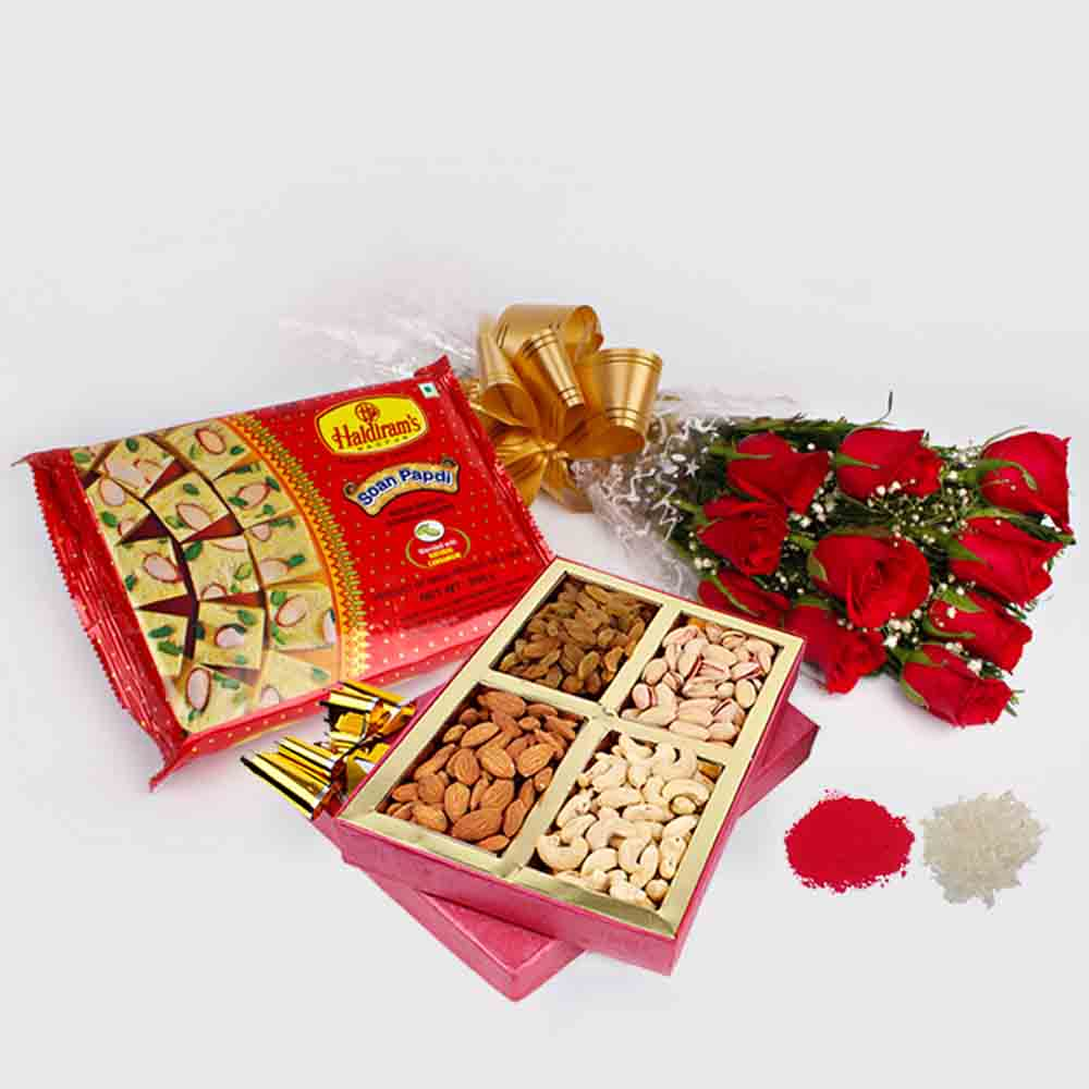 Bhai Dooj Gift for Red Roses Bouquet with Assorted Dry Fruits and Soan Papdi