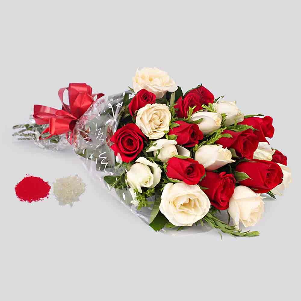 Bhaiya Dooj Red and White Roses Bouquet