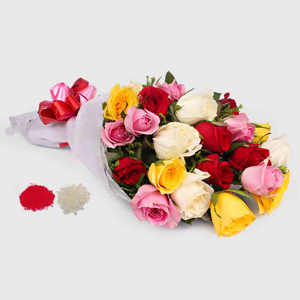20 Mix Roses Bouquet for Bhaidooj Gift