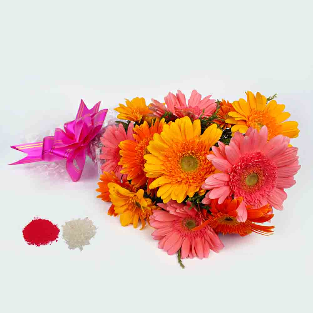Colorful Gerberas Bouquet for Bhaidooj Gift
