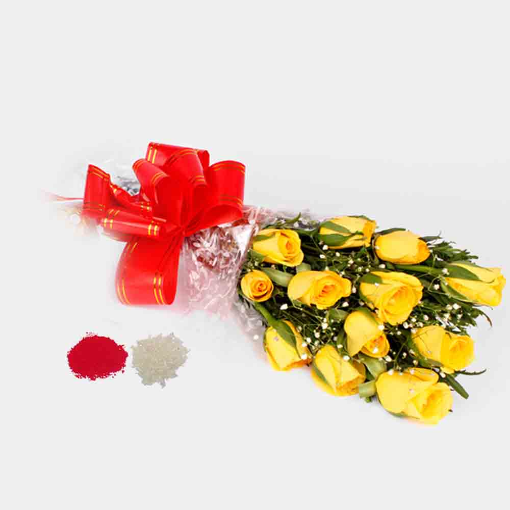 Bhai Dooj Gift of 12 Yellow Roses Bouquet