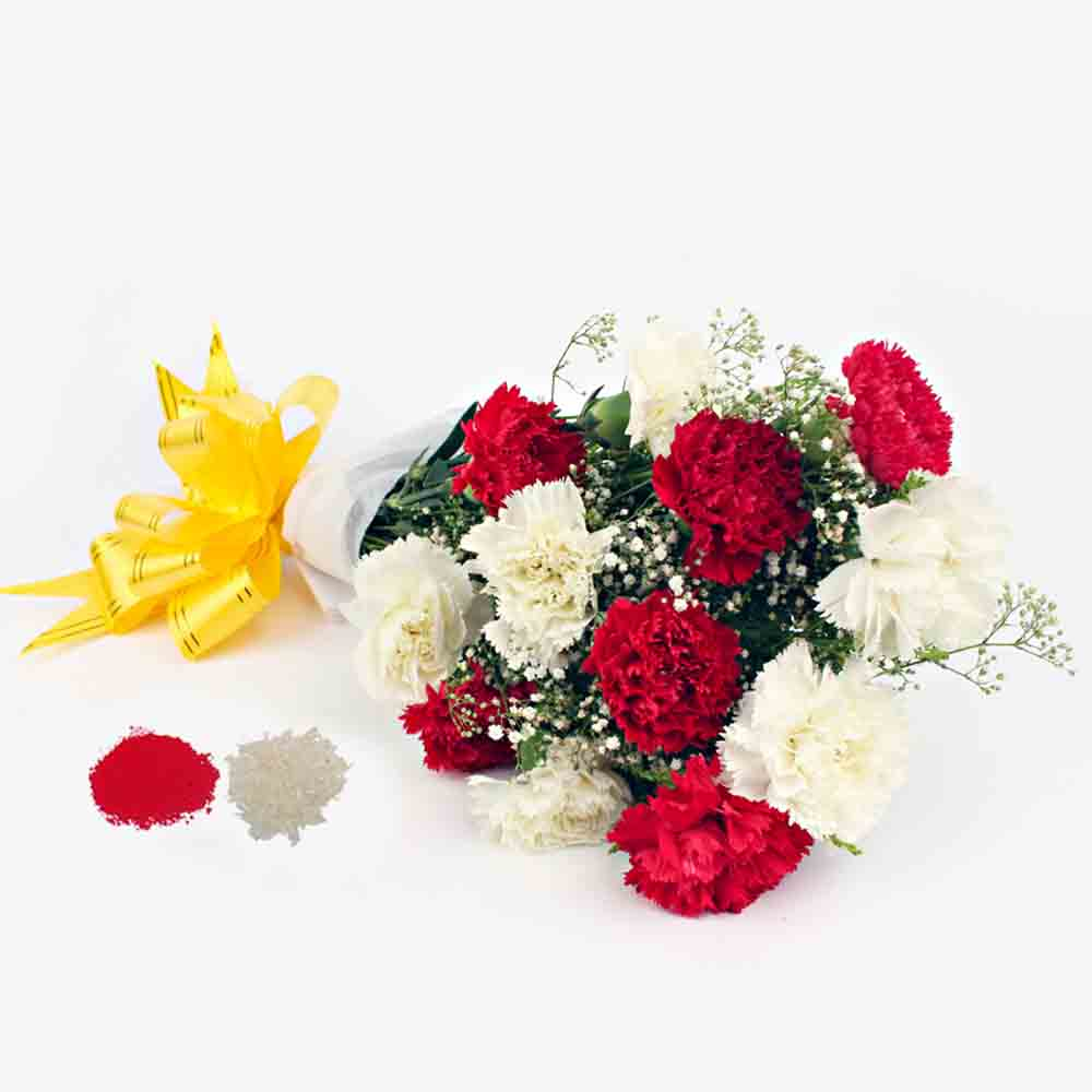 Red and White Carnation Bouquet for Bhai Dooj