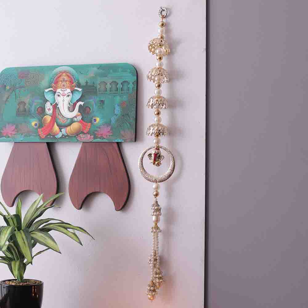 Enchanting White Beads Door Hanging