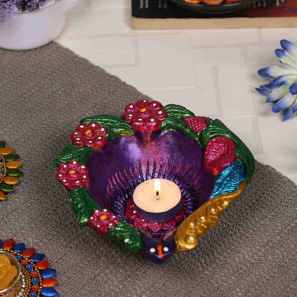 Multicolor Teracotta Handcrafted Diya for Diwali in Floral design- 1 pc