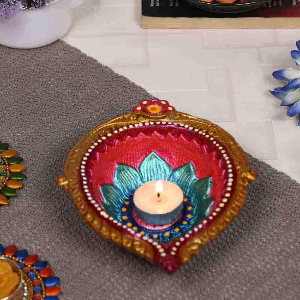 Multicolor Teracotta Handcrafted Diya for Diwali in Traditional design - 1 pc