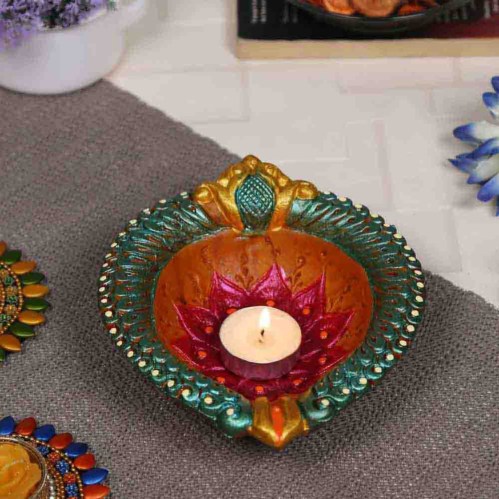 Multicolor Ethnic Teracotta Handcrafted Diya for Diwali - 1 pc