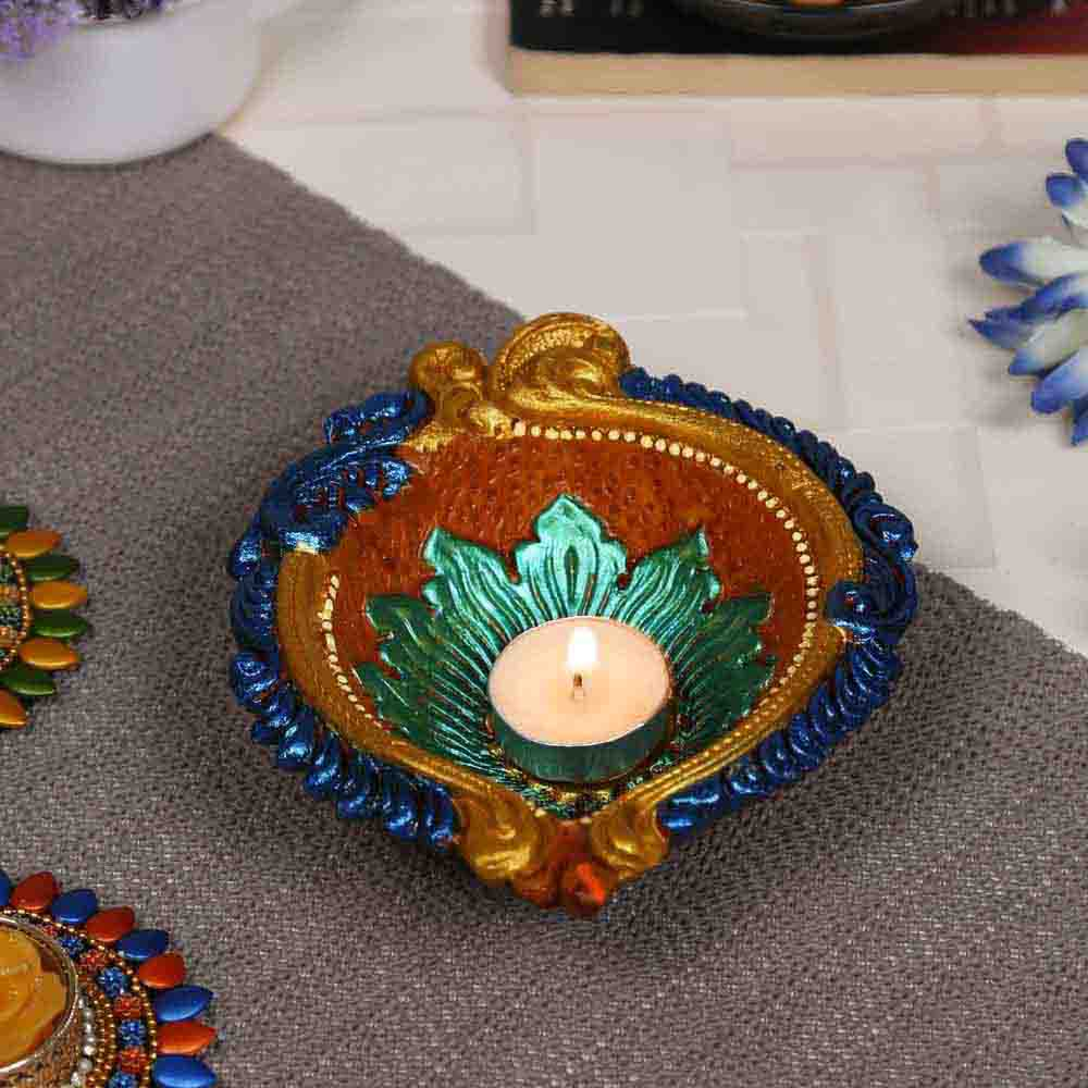 Traditional Multicolor Teracotta Handcrafted Diya for Diwali - 1 pc