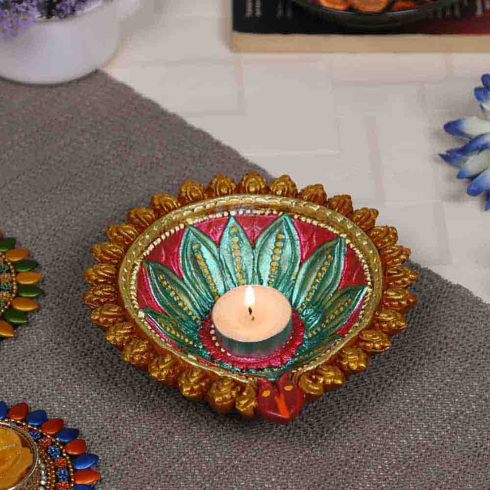 Diwali Diyas-Floral design Multicolor Teracotta Handcrafted Diya for Diwali - 1 pc