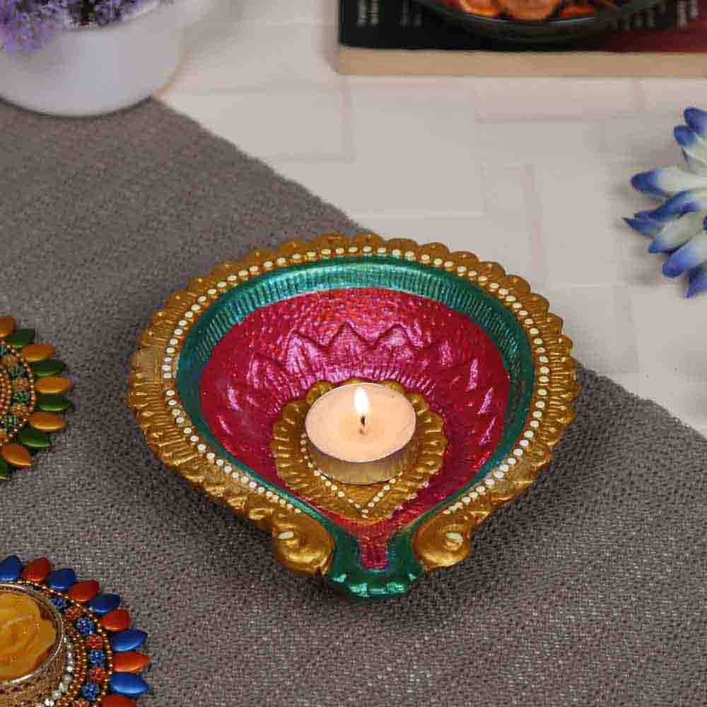 Multicolor Teracotta Handcrafted Diya for Diwali - 1 pc