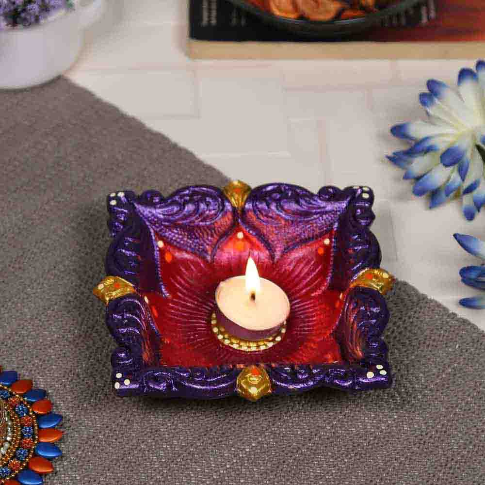 Multicolor Teracotta Square Shape Diya for Diwali - 1 pc