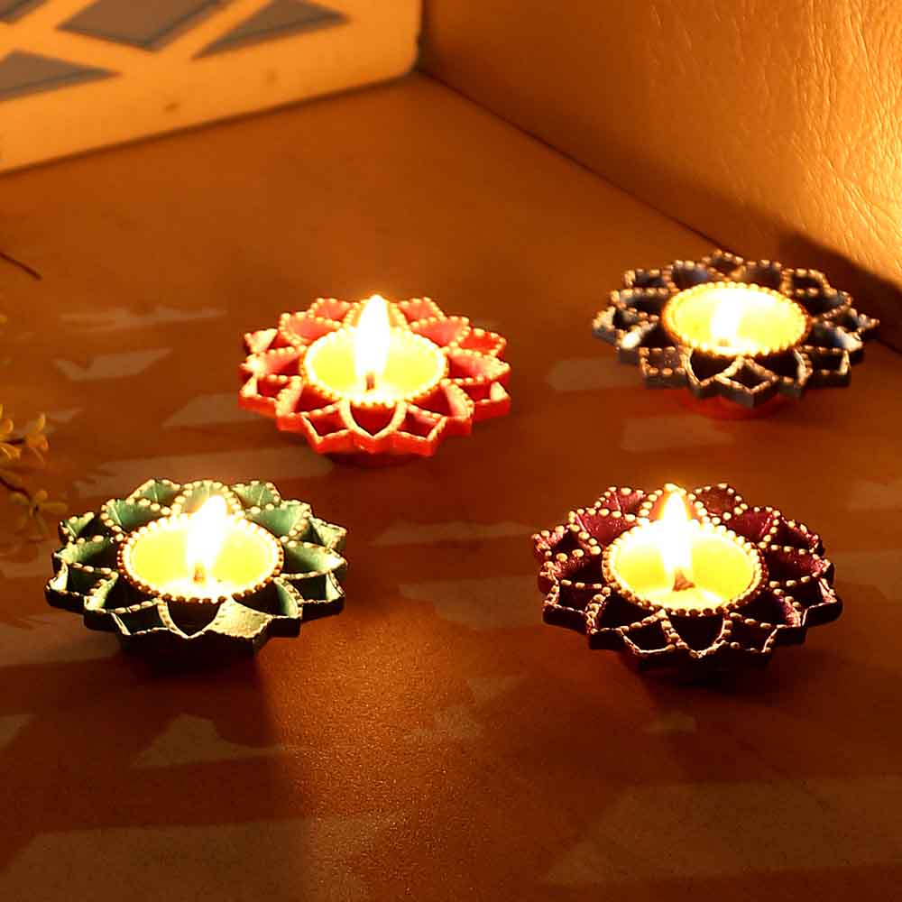 Floral Design Handpainted Terracotta Diyas-Set Of 4