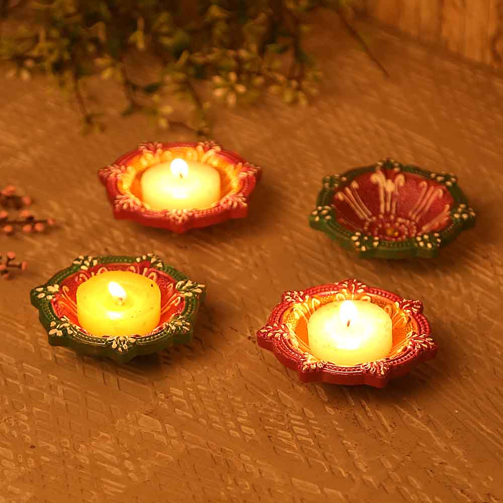 Circular Design Handpainted Terracotta Diyas- Set Of 4
