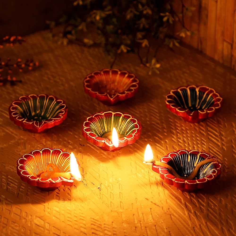 Small Multicoloured Terracotta Diyas - Set Of 12