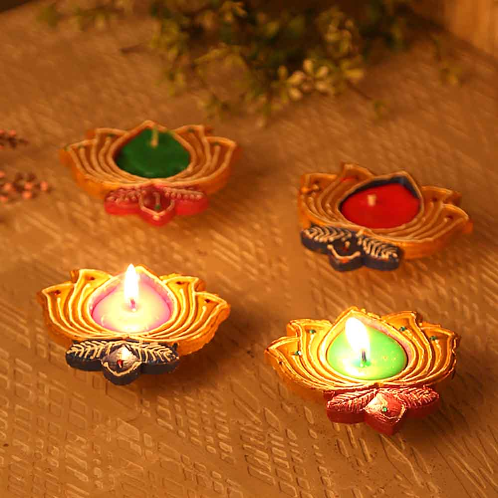 Handcrafted Wax Filled Lotus Design Terracotta Diyas - Set Of 4
