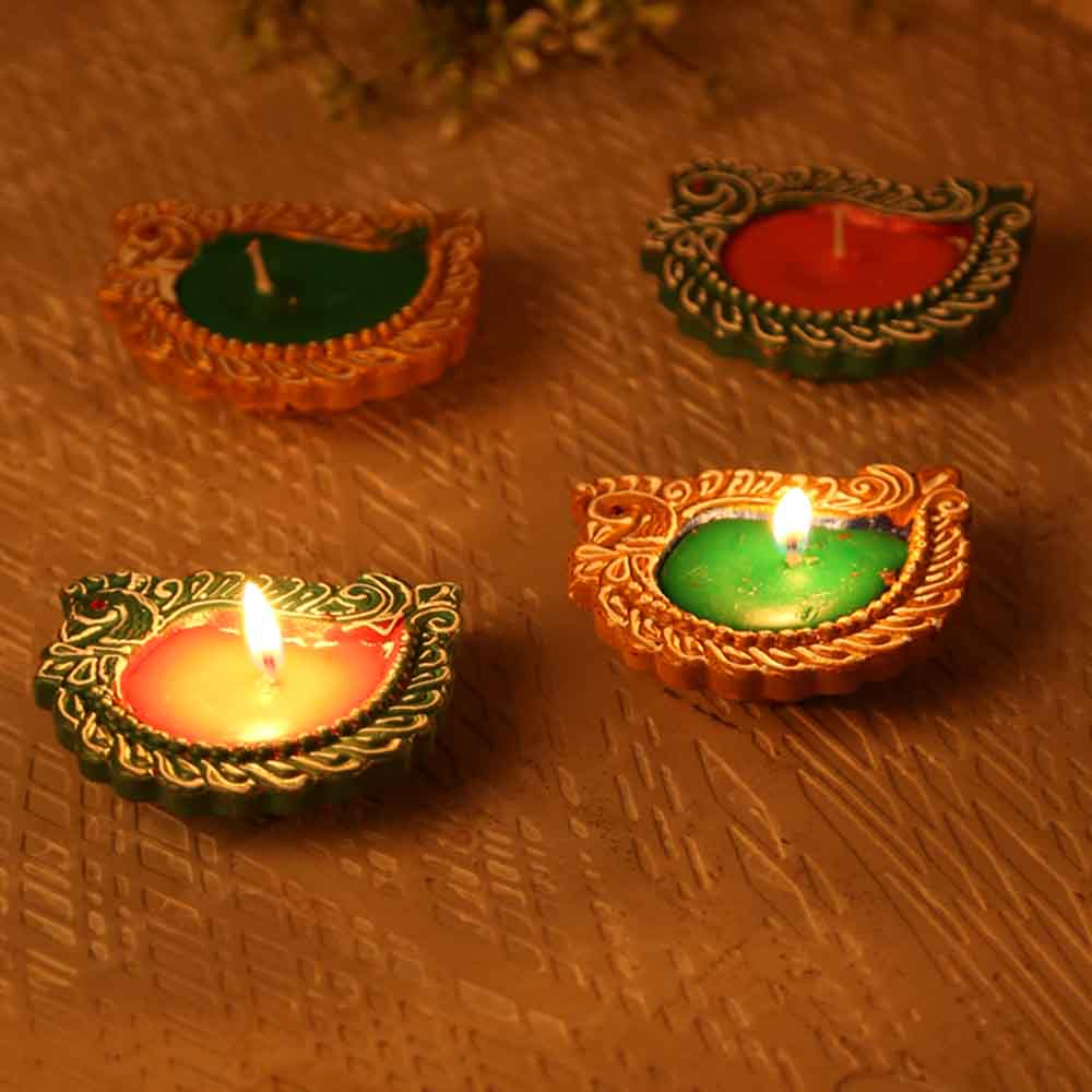 Diwali Diyas-Swan Designed Handpainted Terracotta Diyas-Set Of 4