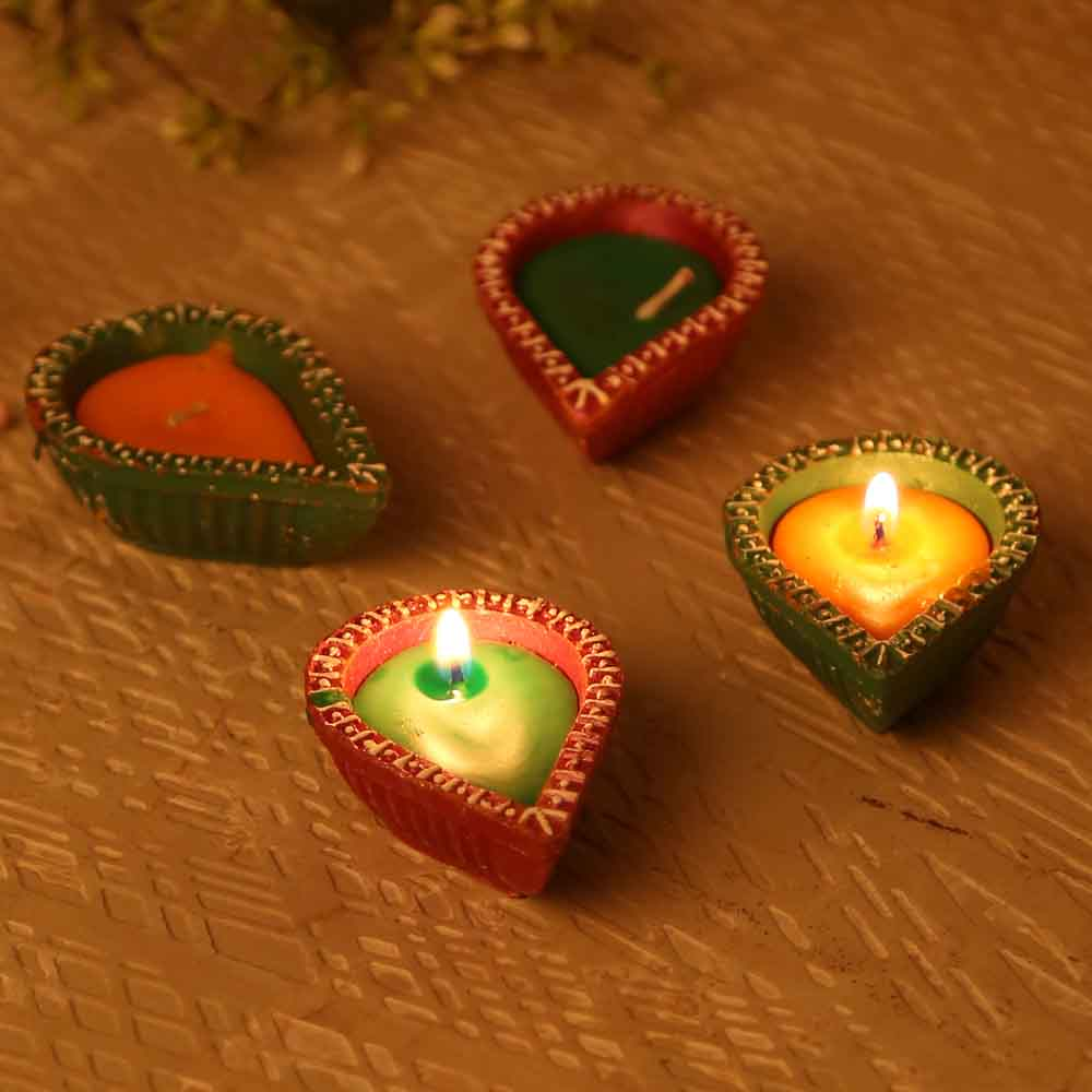 Traditional Painted Terracotta Diyas- Set Of 4