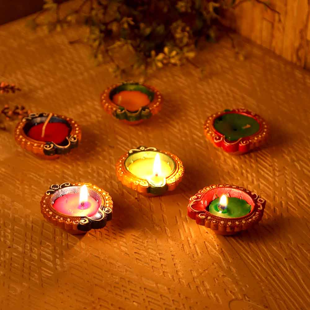 Small Handpainted Wax Filled Terracotta Diyas - Set Of 12
