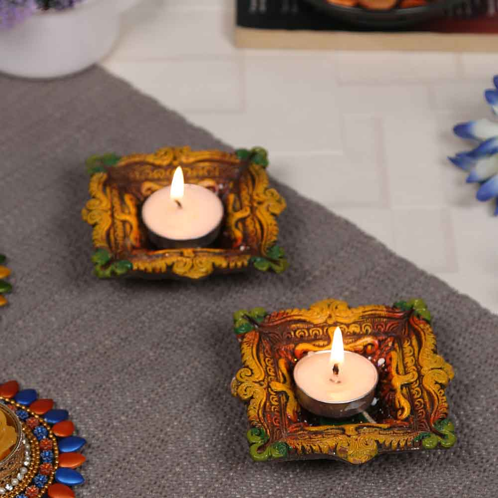 Gel filled Big Colorful Earthen Diya for Diwali - 1 pc