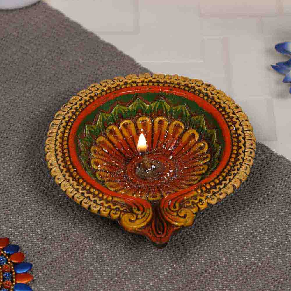 Floral Shape Big Earthen Gel filled Diya for the festival - 1 pc