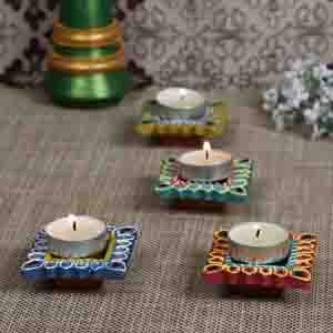 Diwali Diyas-Multicolor Hand painted and decorated 4 Diya Set
