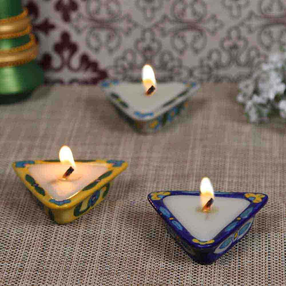 Stunning Triangular Shape ceramic Candle Diyas- Set of 3