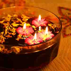 Diwali Candles-Flower Wax Candle Dyas- Set of 4