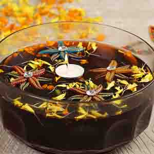 Diwali Candles-Beautiful Wax Candle with Floral Floating Showpieces - set of 4