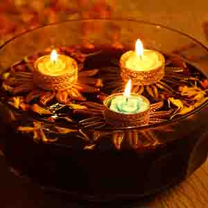Diwali Candles-Red Floral Floating Candles