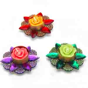 Diwali Candles-Rose Shape Multicolor Floating Candles