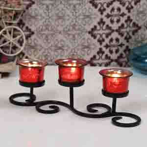 Diwali Lanterns-Handcrafted Wrought iron Red Tea Light Holder with Tealights