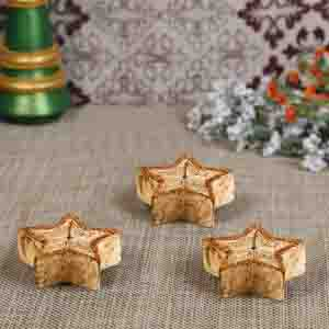 Diwali Candles-Copper Golden Shade Star Candles- Pack of 3