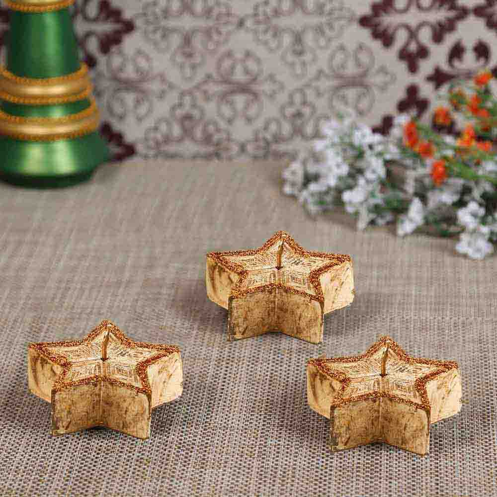 Copper Golden Shade Star Candles- Pack of 3