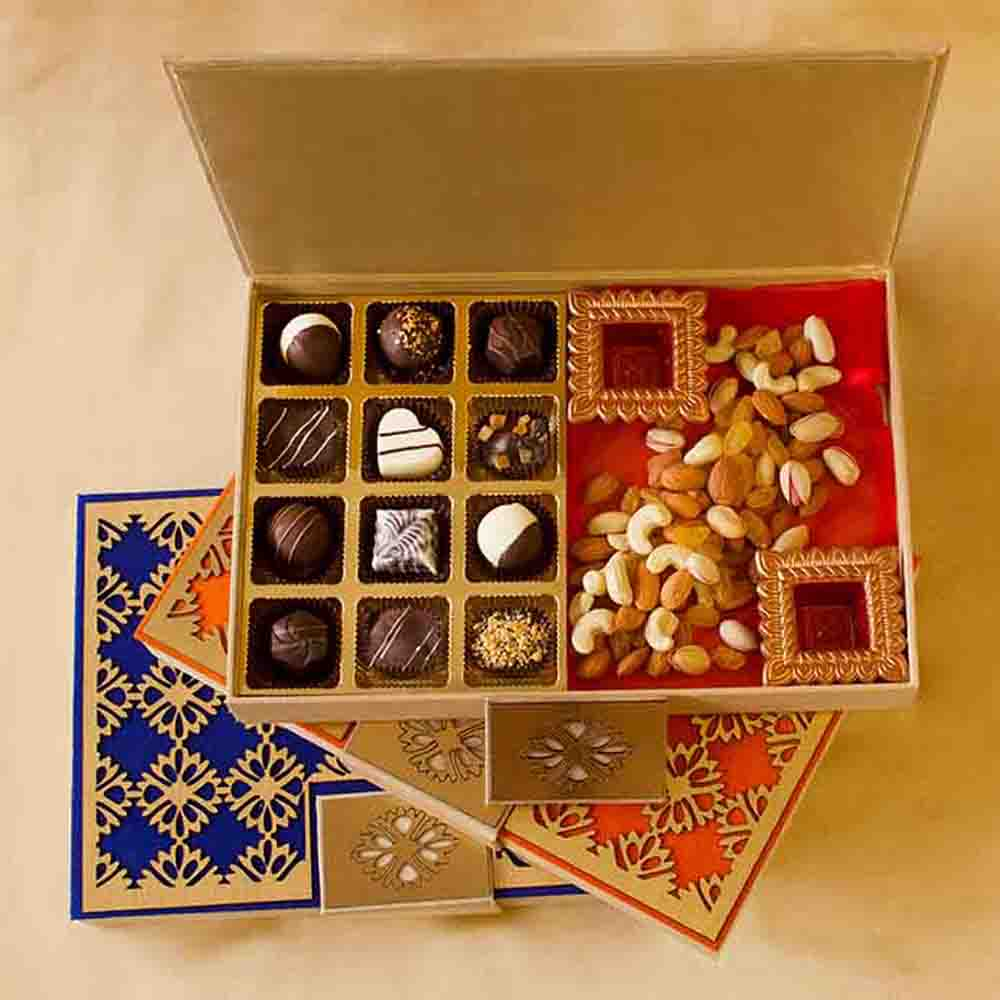 Luxury Chocolate Truffles and Dry Fruits box