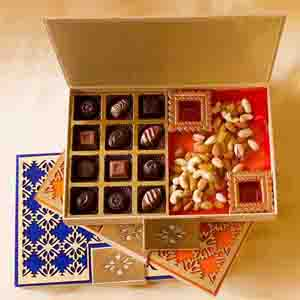 Chocolate & Cookies-Classic Truffles and Dry Fruits Diwali Designer Box