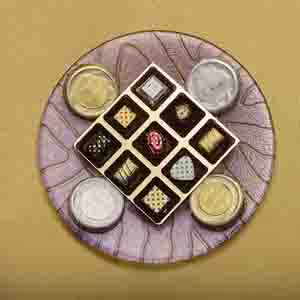 Chocolate & Cookies-Artisanal Bisks and Classic Truffles Glass Platter
